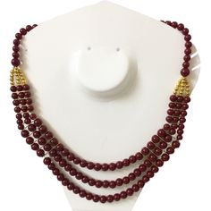 Rez+Steh #Traditional #layered #pearlnecklace #maroonlovers
