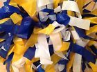 Cheer Or Dance Team Pom Pons. Blue, Yellow And White Combo! 8 Sets! NEW! - http://sports.goshoppins.com/team-sports-equipment/cheer-or-dance-team-pom-pons-blue-yellow-and-white-combo-8-sets-new/