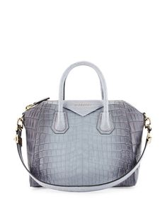 V2E4V Givenchy Antigona Small Crocodile Bag, Gray