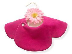 BABY GIRL BIB,Solid Raspberry Pink/Off White,360 Degrees Bib,Scalloped Bib,Reversible,Formal Bib,Round,Collar,Unique Design,Japanese Cotton by JingleBib on Etsy