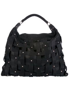 1f7ba01ccb HANDBAGS · Bags - Salar Studded Woven Bag - Black leather bag from Salar  featuring a top handle