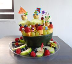 This is another birthday cake I prepare for my son's birthday since he does not like cake. Here is the ingredients that I used. Green apple, blueberry, raspberry, Water melon, grape, cantaloupe, st...