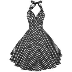 Vintage Halter Polka Dot Pin Up Dress ($24) ❤ liked on Polyvore featuring dresses, polka dot halter top, vintage day dress, pinup dresses, pin up dresses and halter top