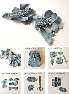 Diy denim flowers Recycle jeans Go Green Diy Denim, Artisanats Denim, Denim Fabric, Denim Flowers, Cloth Flowers, Fresh Flowers, Beautiful Flowers, Chiffon Flowers, Chiffon Fabric