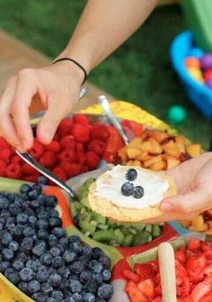 Mini fruit pizzas-I could mix whipped cream, whipped cream cheese, & a pinch of vanilla jell-o powder mix to spread on. Consistency would be spot on. :)