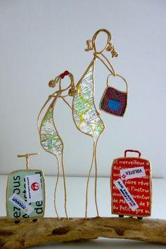 Les globe-trotteuses - figurines en ficelle et papier