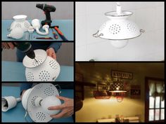 If you'd like an unusual pendant light, why not consider making one from a colander? Perfect lighting for the kitchen. :) This is a simple project that you can easily do a couple of hours. The materials needed are affordable, specially if you have a spare colander although you might want to shop for one with an interesting pattern. You see (and you will!), what's great about this project is the unique light pattern it makes on your ceiling and upper walls when you turn it on. Great idea? ...
