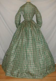 American Civil War Era Green Plaid Dress