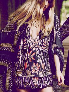 Free People Love and Embellished Shift Dress, $168.00. women's fashion and style. boho chic. geometric statement necklace