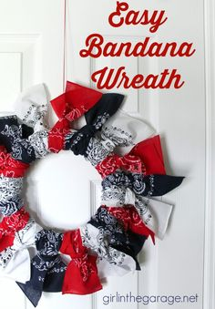 to Make a Patriotic Bandana Wreath Easy Bandana Wreath - styrofoam ring & 3 bandanas torn into strips & knotted - easy!Easy Bandana Wreath - styrofoam ring & 3 bandanas torn into strips & knotted - easy! Craft Projects For Kids, Easy Crafts For Kids, Summer Crafts, Holiday Crafts, Holiday Decor, Craft Ideas, Decor Ideas, Diy Projects, Holiday Wreaths