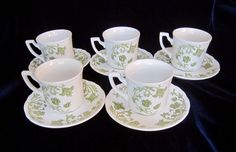 J. & G. Meakin Windsong Green Ironstone Flat Cups and Saucers -Set of 5 -England #JGMeakin
