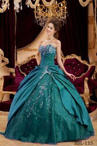 Sweetheart Taffeta Quinceanera Gowns in Dark Green on Promotion