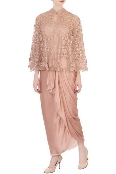 Buy Draped Skirt Set by Aqube by Amber at Aza Fashions Dress Brokat Muslim, Dress Brokat Modern, Kebaya Brokat, Kebaya Muslim, Kebaya Modern Hijab, Model Kebaya Modern, Dress Brukat, Hijab Dress Party, Batik Fashion
