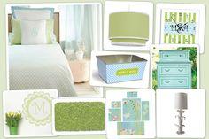 Marina Bedroom...I love the aqua and pale green colors!