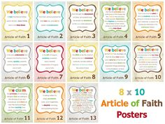Articles of Faith printables.  I need to download these now so I can use them when my kids are able to read.