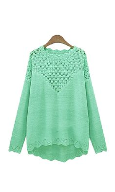 Green Hollow-out O-neck Long Sleeves Sweater