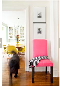 from styledcreative.com    Chairloom has those exact yellow chairs for sale - but ours are green!!