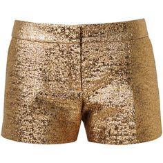 Lanvin Metallic Lamé Shorts ($920) ❤ liked on Polyvore featuring shorts, bottoms, short, lanvin, metallic gold, metallic shorts, mini shorts, short shorts and summer shorts