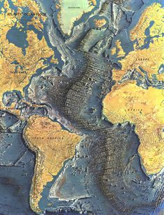 A detailed map of the Atlantic ocean floor, by National Geography, 1968.