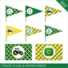 Tractor Party Straw Flags and Napkin Rings (Digital File)