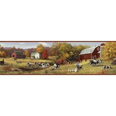 """Brewster Home Fashions Borders by Chesapeake Herman Cow Pasture Portrait 15' x 6.83"""" Scenic 3D Embossed Border Wallpaper"""