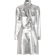 Saint Laurent Metallic Silk-Blend Dress ($2,785) ❤ liked on Polyvore featuring dresses, silver, silver metallic dress, white day dress, yves saint laurent, yves saint laurent dresses and white dress