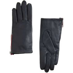Zip Leather Gloves (53 RON) found on Polyvore featuring women's fashion, accessories, gloves, leather gloves, zipper gloves, real leather gloves, lined gloves and lined leather gloves