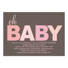 Tickled Pink Oh Baby Girl Modern Baby Shower 5x7 Paper Invitation Card