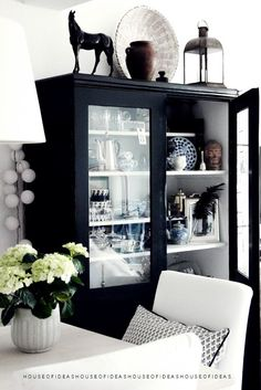black glass front cabinet with white interior Glass Front Cabinets, Black Cabinets, Cheap Cabinets, Home Interior, Interior Decorating, Interior Design, Black And White Interior, Black White, Matte Black
