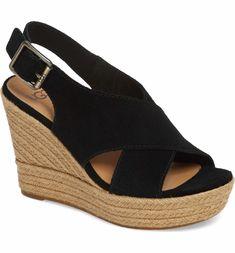 Harlow Suede Slingback Peep-Toe Wedge Espadrille Sandals t6RUh