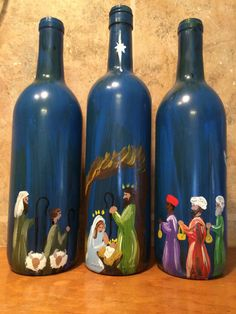 icu ~ Pin on Home Deco ~ Decorative Bottles : Nativity Story painted Wine Bottles, set of 3 -Read More – Recycled Glass Bottles, Glass Bottle Crafts, Wine Bottle Art, Painted Wine Bottles, Lighted Wine Bottles, Decorative Bottles, Beer Bottles, Bottle Lights, Wine Bottle Centerpieces