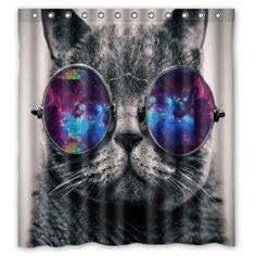BBFhome Hem Gewichte Duschvorhang Benutzerdefinierte wasserdicht Stoff Badezimmer Galaxy Hipster Cat tragen Farbe Sonnenbrillen 90 ( L ) x 180 (H) CM