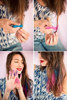 A CUP OF JO: Colored chalk tips :: Use artists chalk to add colorful streaks to your hair.