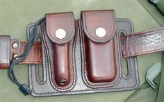 Wet formed leather pouches.