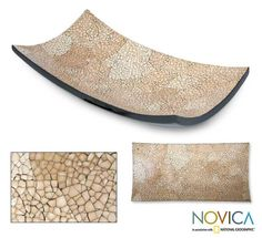 Novica Eggshell Mosaic 'Earth Mystique' Centerpiece , Handmade in Thailand, Brown