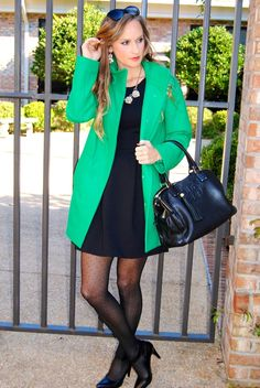 Morrell's Armoire Fashion Blog. J.crew green peacoat with printed tights