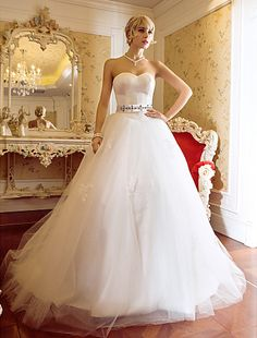 Cheap Wedding Dress Ball Gown Sweep Brush Train Tulle and Satin Sweetheart With Sash and Crystal Detailing Free Measurement