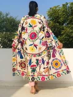 Excited to share the latest addition to my shop: Bohemian coat / embroidered coat / statement jacket / banjara jacket / multicoloured coat Hijab Fashion, Fashion Dresses, Mode Kimono, Iranian Women Fashion, Boho Vintage, Boho Stil, Mode Boho, Quirky Fashion, Indian Outfits