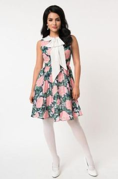 6835cfa78d 1960's Pink Floral Bow Tie Marin Dress by Unique Vintage. Modern Millie Shop  ...