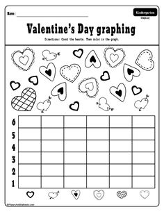 Free printable Valentine's Day activities for kindergarten - color by number, letters and numbers worksheets. Perfect for literacy centers or morning work. Valentines Day Activities, Valentines For Kids, Valentine Day Crafts, Homeschool Kindergarten, Kindergarten Worksheets, Homeschooling, Graphing Activities, Valentine's Day Crafts For Kids, Valentine's Day Printables