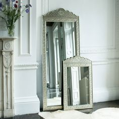 Embossed White Metal Scalloped Mirror  love!