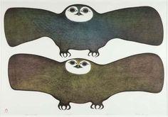 Inuit art:  PITALOOSIE SAILA (1942-), E7-1006, Cape Dorset OWLS OF THE NIGHT, lithograph