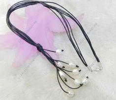 New Fashion Black Leather Rope & White Freshwater Pearl Necklace 20'' Long | eBay