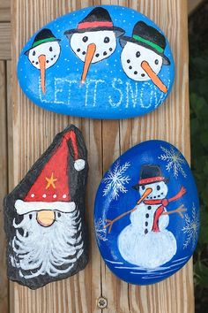 Excellent office grab bag gift, neat stocking stuffers, Christmas party hostess gift Painted Rocks For Sale, Hand Painted Rocks, Christmas Rock, Christmas Gnome, Christmas Ornaments, Snow And Rock, Unique Gifts For Kids, Winter Holidays, Hostess Gifts