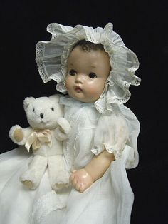 Ideal Vintage Composition Baby Doll Precious Original Dress 1930's 40'S