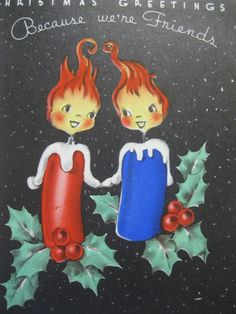Vintage Christmas Card Anthropomorphic Candles 2 Cards 1940s 4 Folds | eBay