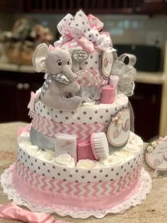 4 Tier, Pink Elephant Diaper Cake for Baby Girl, Diaper Cake Centerpiece, Baby Girl Diaper Cake - Geschenke Ideen Deco Baby Shower, Shower Bebe, Baby Shower Diapers, Girl Shower, Baby Shower Diaper Cakes, Baby Showers, Elephant Diaper Cakes, Baby Elephant, Elephant Ring