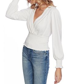 From STATE&& this top features& Surplice v& sleeves Lace detailSmocked waist and sleeve cuffsstraight hemlinePullover construction Polyester& wash& dry Imported& Snow White Outfits, White Outfits For Women, Clothes For Women, White Lace Blouse, Retro Outfits, Latest Fashion For Women, V Neck Tops, Smocking, Long Sleeve Tops