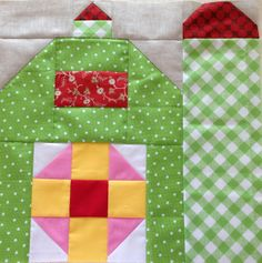 dream quilt create: The Quilty Barn Along, Silo Barn by shawna House Quilt Patterns, House Quilt Block, House Quilts, Quilt Block Patterns, Sewing Patterns, Modern Quilt Blocks, Star Quilt Blocks, Barn Quilt Designs, Quilting Designs