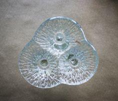Vintage Blenko Candleholder Brutalist Mid Century Amoeba Shape Art Glass Tripod Form 3 Hole Candlestick Holder  Home Decor Mood Lighting